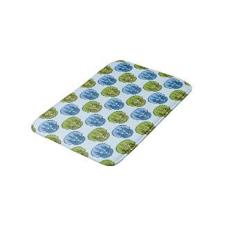 Triceratops Blue and Green Cute Dinosaur Pattern Bath Mat