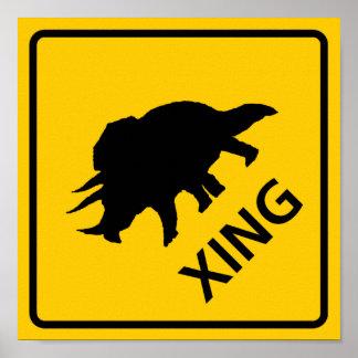 Triceratops Crossing Highway Sign Dinosaur Print
