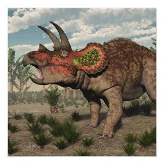 Triceratops dinosaur - 3D render Poster