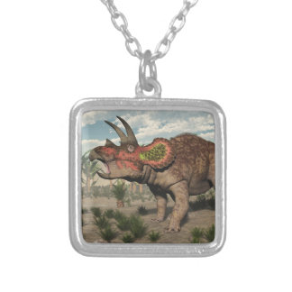 Triceratops dinosaur - 3D render Silver Plated Necklace