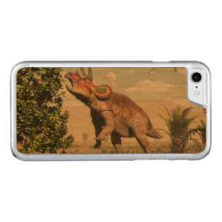 Triceratops eating at magnolia tree - 3D render Carved iPhone 8/7 Case