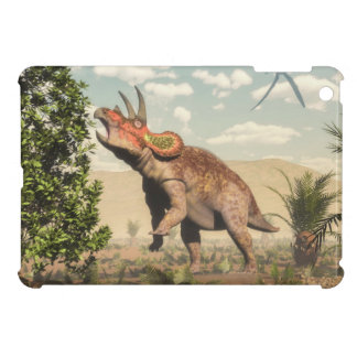 Triceratops eating at magnolia tree - 3D render Case For The iPad Mini