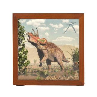 Triceratops eating at magnolia tree - 3D render Desk Organiser