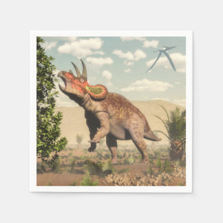 Triceratops eating at magnolia tree - 3D render Disposable Napkins