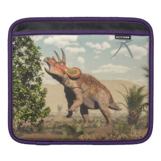 Triceratops eating at magnolia tree - 3D render iPad Sleeve