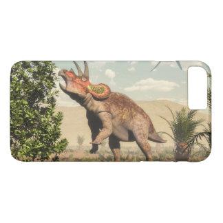 Triceratops eating at magnolia tree - 3D render iPhone 8 Plus/7 Plus Case