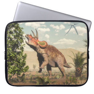 Triceratops eating at magnolia tree - 3D render Laptop Sleeve