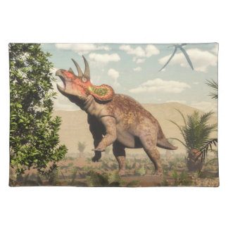 Triceratops eating at magnolia tree - 3D render Placemat