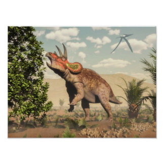 Triceratops eating at magnolia tree - 3D render Poster