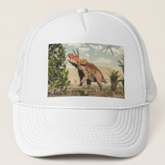 Triceratops eating at magnolia tree - 3D render Trucker Hat