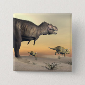 Triceratops escaping from tyrannosaurus- 3D render 15 Cm Square Badge
