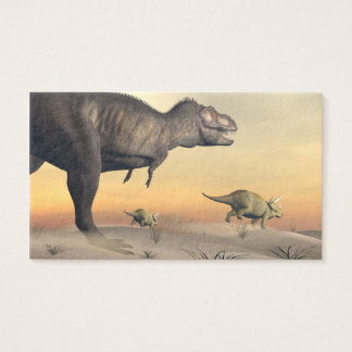 Triceratops escaping from tyrannosaurus- 3D render Business Card