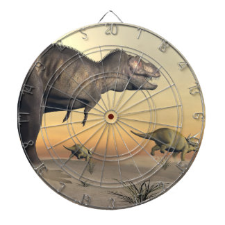 Triceratops escaping from tyrannosaurus- 3D render Dartboard