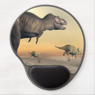 Triceratops escaping from tyrannosaurus- 3D render Gel Mouse Pad