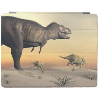 Triceratops escaping from tyrannosaurus- 3D render iPad Cover