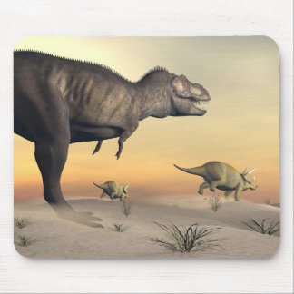Triceratops escaping from tyrannosaurus- 3D render Mouse Pad