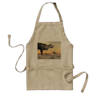 Triceratops escaping from tyrannosaurus- 3D render Standard Apron