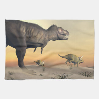 Triceratops escaping from tyrannosaurus- 3D render Tea Towel