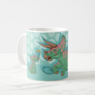 Triceratops Giving Flowers Coffee Mug