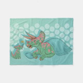Triceratops Giving Flowers Fleece Blanket