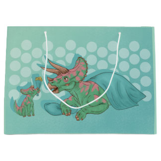 Triceratops Giving Flowers Large Gift Bag