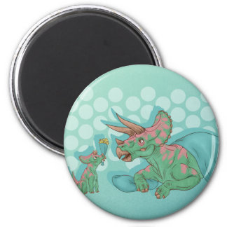 Triceratops Giving Flowers Magnet