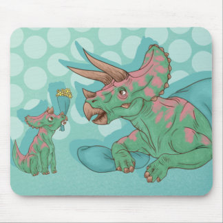 Triceratops Giving Flowers Mouse Pad