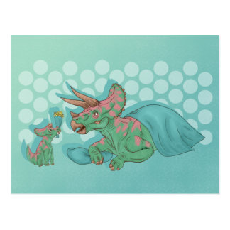 Triceratops Giving Flowers Postcard