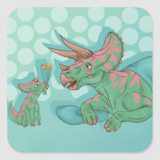 Triceratops Giving Flowers Square Sticker