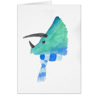 Triceratops In A Scarf Card