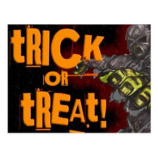 Trick of Treat Mummy Halloween Card Postcard