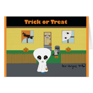 'Trick or Treat' Alien Greeting Card