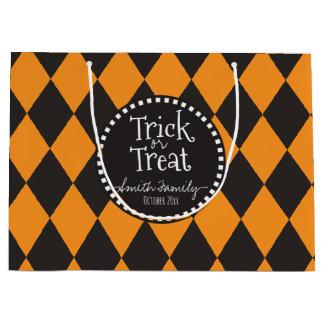 Trick or Treat. Argyle. Large Gift Bag