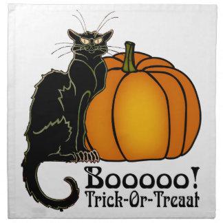 Trick-Or-Treat Art Neouvou Black Cat & Pumpkin Napkin