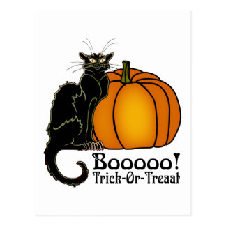 Trick-Or-Treat Art Neouvou Black Cat & Pumpkin Postcard