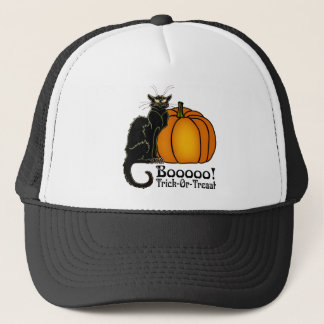 Trick-Or-Treat Art Neouvou Black Cat & Pumpkin Trucker Hat