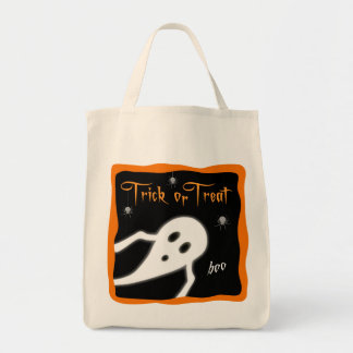 Trick or Treat Bag with Ghost and Spiders