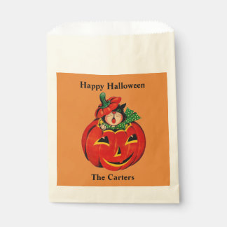 Trick or Treat Bag YOUR NAME Retro Pumpkin Cat