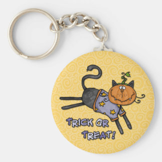 trick or treat basic round button key ring