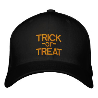 Trick-or-Treat Black and Orange Halloween Hat Embroidered Hats