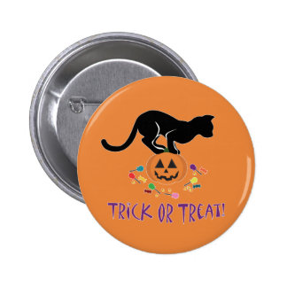 Trick or Treat Black Cat Pinback Buttons