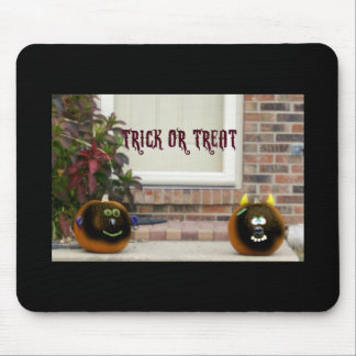 Trick or Treat Black Ghoul Face Pumpkins Mouse Pad