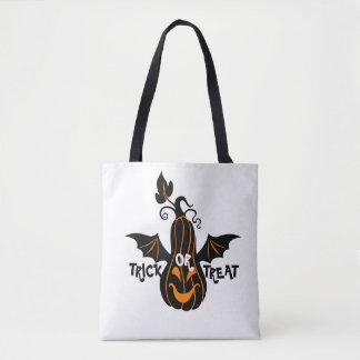 Trick Or Treat black & Orange Halloween Pumpkin Tote Bag