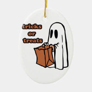 Trick or treat - Boo - cartoon ghost - baby ghost Ceramic Ornament