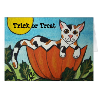 Trick or Treat Calico Cat Halloween Pumpkin Card