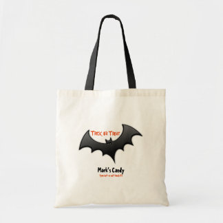 Trick or Treat Candy Bag With Black Bat