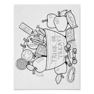 Trick or Treat Candy Cardstock Adult Coloring Page Poster