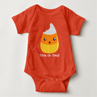 Trick Or Treat Candy Corn Halloween Baby Bodysuit