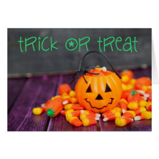 Trick or Treat Candy Corn Halloween Greeting Card