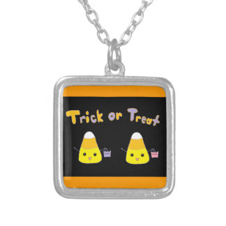Trick or Treat Candy Corn Square Pendant Necklace